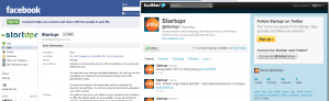 Startupr on Facebook and Twitter